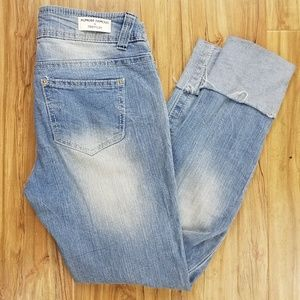 Almost famous light wash distressed denim size 1